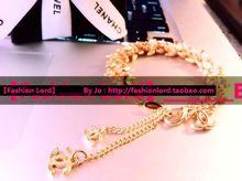 【】 CHANEL contador síncrono bizantino de oro brazalete de diamantes de oro de trigo pequeñas fragantes doble C