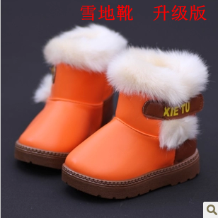 The new winter models children, boys and girls cotton padded shoes boots baby shoes tide PU face child warm snow boots