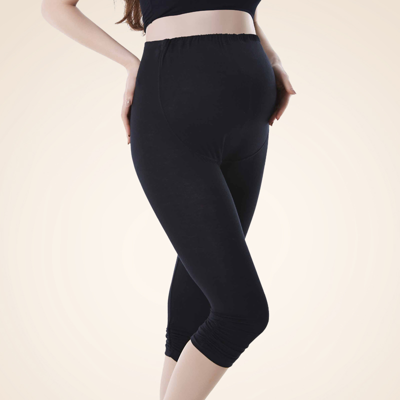 孕妇��.�yd�an:/���y.b_孕妇打底裤 夏季薄款 七分裤 百搭时尚 托腹 可调节 孕妇装 b-1