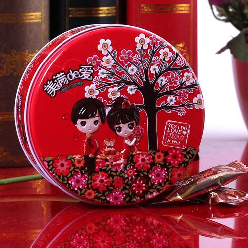 结婚婚礼婚庆用品 可爱卡通红色圆形创意喜糖盒子批发特价马口铁