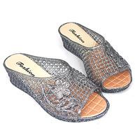 新款甜美水晶高跟凉拖鞋夏季女款跛跟厚底公主鞋鸟巢防水塑料拖鞋