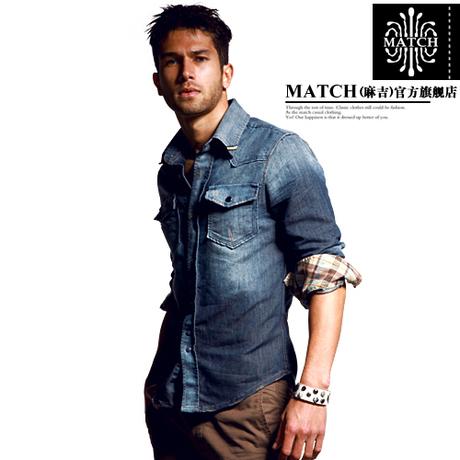 match麻吉秋季新款男士牛仔衬衫 纯棉休闲牛仔长袖衬衣