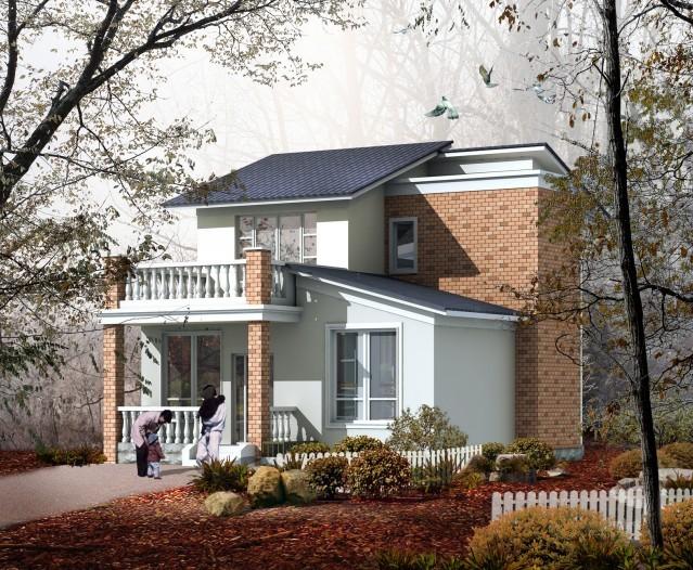 二层城镇房屋设计图 农村自建房 普通两层楼房设计图带效果图