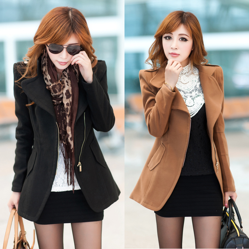 Spring and autumn 2013 new Barret coat ladies zip around wallet female Korean jacket shoulder pads Barret coat woolen cloth
