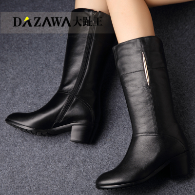 Big toe Wang 2014 new women's boots winter boots boots boots true knight boots boots Girls with big yard full leather boots