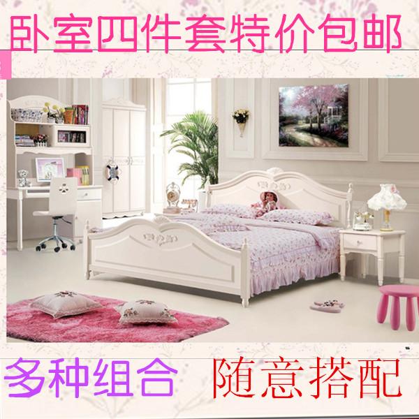 Двуспальная кровать Взрослый Европейского-корейский стиль твердой древесины спальни установить шкаф кровать стол комбо комплект Специальный пакет почту 808
