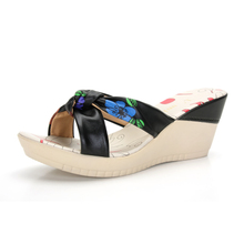 Amway Nika 2013 new summer models slope with comfortable shoes bow sandals and slippers first layer of real leather 3078-3