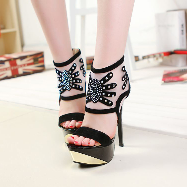 Special summer was thin sexy lace mesh sandals female fish head high heels sandals for women with thin wedges