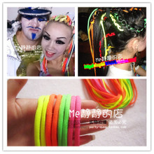 European and American hip-hop personality fluorescence color headrope hair rope hair accessories headdress the Reggae Jazz DS singer shape necessary