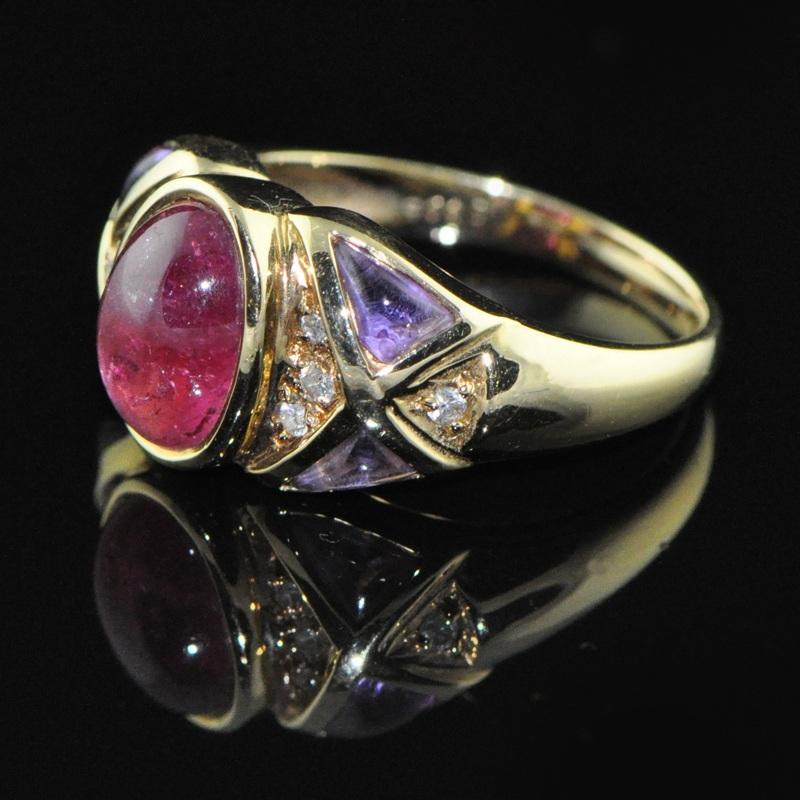 【逸后出品】日本顶级做工 18K金 碧玺紫水晶 钻石戒指 指环