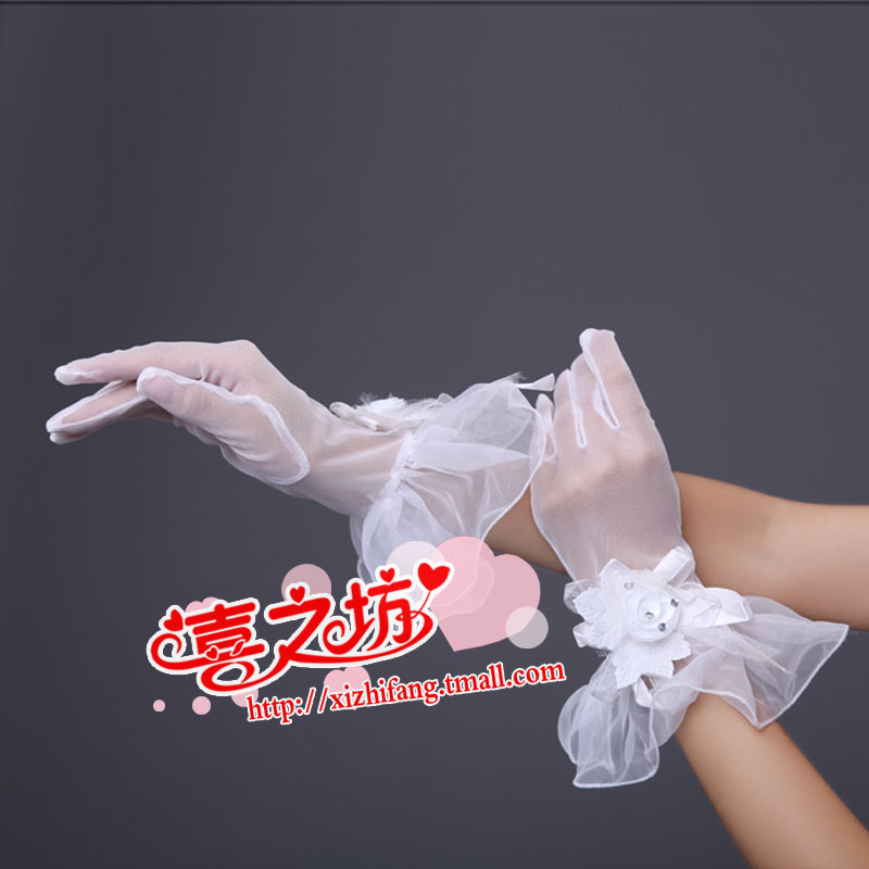 The new bride gloves dress gloves accessories accessories diamond crystal yarn gloves yarn short lace gloves