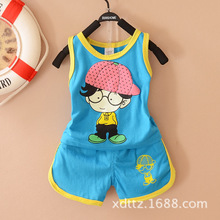 Summer wear men's and women's baby 2014 new boy vest suit 0 and 1 year old baby clothes children wear 6 months 2 to 3 years old