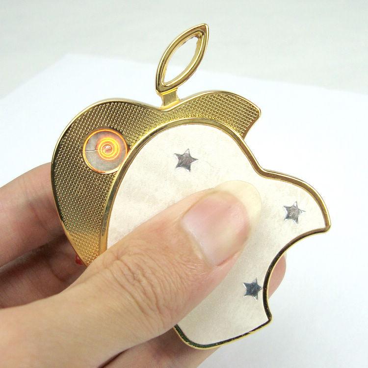 苹果充电打火机 创意 USB电子点烟器 无声防风个性金属超薄精品牌