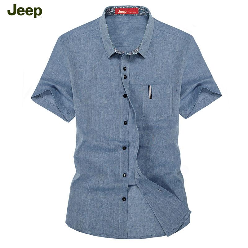 【天天特价】jeep乐满途夏休闲衬衫男麻布衬衫透气短袖亚麻衬衣男