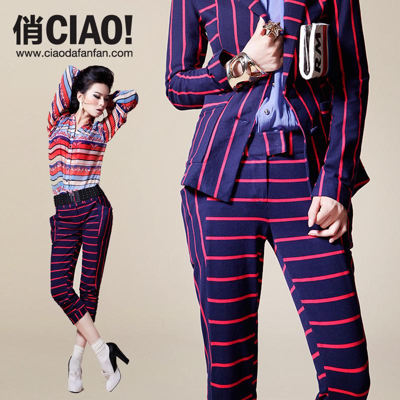 Классические брюки Ciao cbfpm015 2012 Облегающий Европейский и американский стиль Брюки чуть выше щиколотки Высокая талия Хлопок Осень 2012