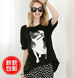 2014 new Europe and loose slimmer size puppy fat MM printing long bat sleeve t shirt short sleeve shirt