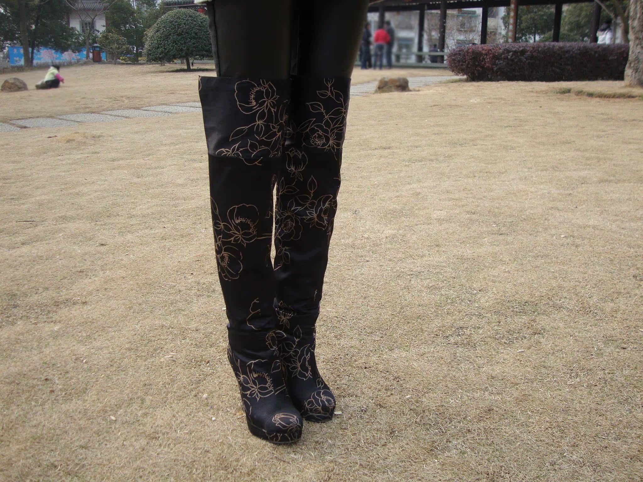 Женские сапоги Beyond3cm / / высокие каблуки/стилеты/над сапоги черные шелковые ткани бутик