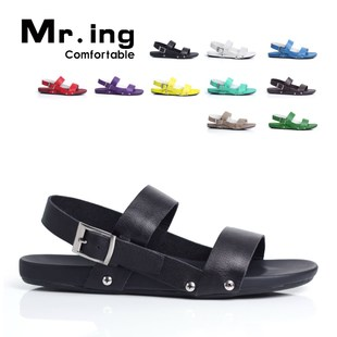 Spring/summer Mr.ing genuine men's trendy colorful candy colored first layer leather Beach sandal shoes men's shoes T329