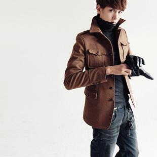 2014秋冬季夹克男日毛呢男士带肩章夹克男外套潮