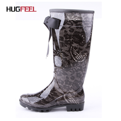 Han Fu Japan and South Korea the new ribbon lace Tall boots with flat shoes fashion shoes, rubber boots and overshoes water