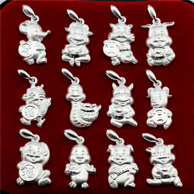 Zodiac 990 sterling silver pendants Rat Ox Tiger Rabbit snakes Horse Sheep Monkey Zodiac pendant silver Jigou Desktop Wallpaper