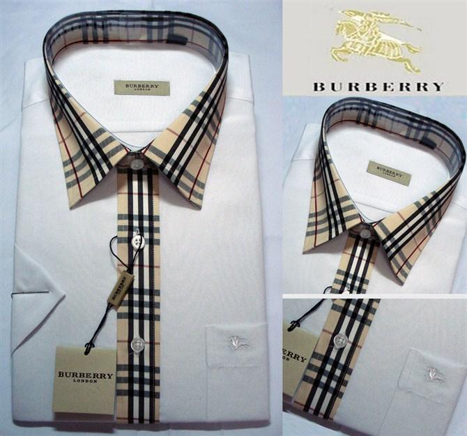 Рубашка мужская Burberry 2012 Оксфорд Контрастный воротник Короткие рукава (длина рукава <35см)