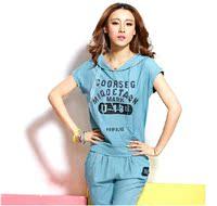 美祺奥尔新款9201夏季T恤韩版修身运动套装女时尚卫衣休闲运动服