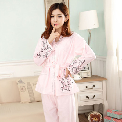 2015 winter fine embroidered long-sleeved pants pajamas noble ladies fashion household to take three suits