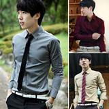 2012新款春装 韩版 男式长袖Рубашка 修身休闲 长袖Рубашка 纯色