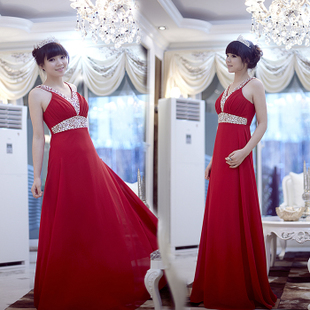 MaxMara luxury style classic red bridal gowns handmade beads elegant toast clothing performance clothing