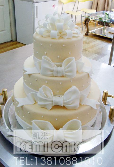 本年度热销款式: 唯美蝴蝶结 翻糖结婚/婚礼蛋糕 (多图,实拍)