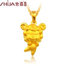 世嘉珠宝黄金羊吊坠3D硬足金项坠十二生肖可爱项坠羊图片