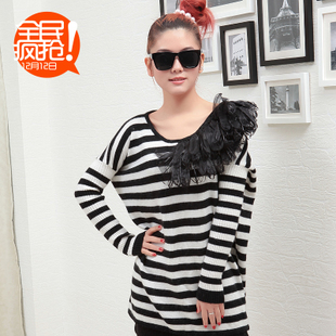 New spring clothing Korean ladies ' fashion relaxed stripe lace pattern round neck ribbed sleeves sweater WX337