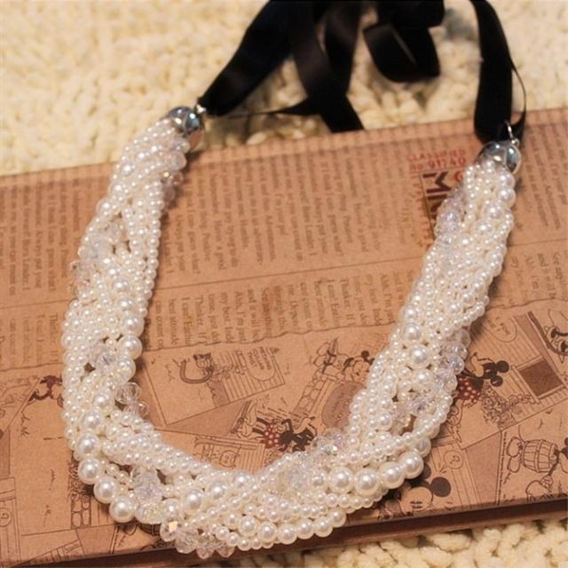 韩国流行珍珠麻花编织 缎带丝带多层短款项链 女锁骨链假领子