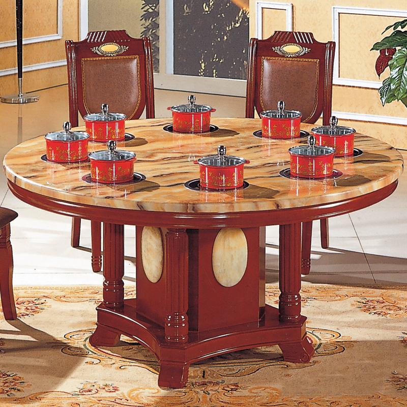 圆形电磁炉火锅餐桌 天然人造大理石桌面 实木台架 多电磁炉图片