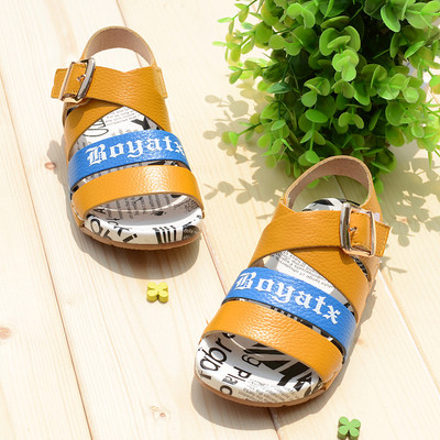 Small snail leather shoes leather sandals boys sandals 2014 new Korean version of comfortable soft-soled shoes boutique summer paragraph
