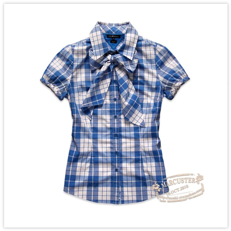 женская рубашка RTW rtwc12203 Городской стиль Короткий рукав В клетку Лето 2012 Бантик бабочкой