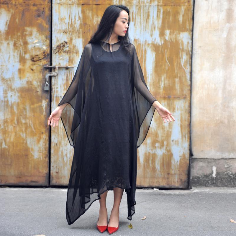 野孩子原创设计夏季新款黑色连衣裙简约欧美百搭飘逸长袖长裙夜色