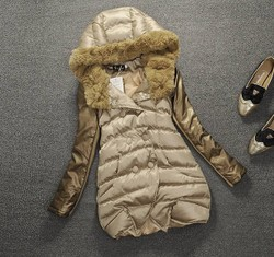 European style cotton coat fur collar coat thick cotton-padded jacket coat