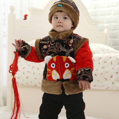 Baby New Year costume cotton clothing infant clothing baby suit 4-1-2-3 old boy thick winter