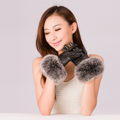 Upgrade oversized plush? ?Haining Leather City with fox fur women's fashion leather gloves multicolor