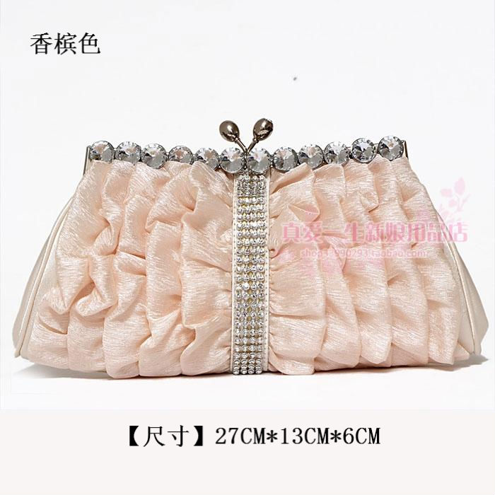 韩版褶皱亮钻新娘伴娘礼金包晚礼宴会包女式小手提拎拿包B081香槟