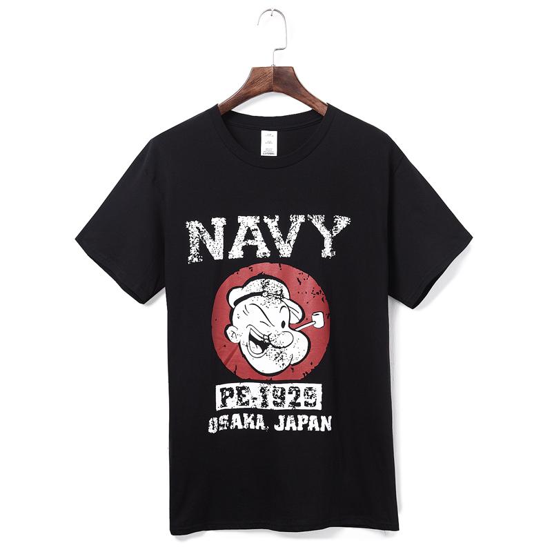 夏装新款大力水手印花图案男TEE 日系复古男士卡通动漫短袖T恤