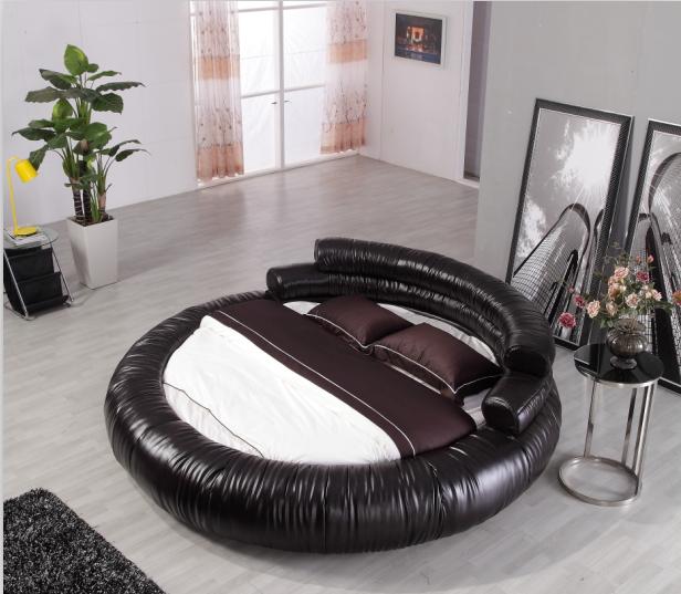 кожаная кровать Круглая кровать кровать кровать кожа кровать импорта мягкая кровать двуспальная кровать три сумки европейской моды круглая кровать Главная
