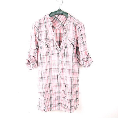 женская рубашка Городской стиль В клетку V-образный вырез