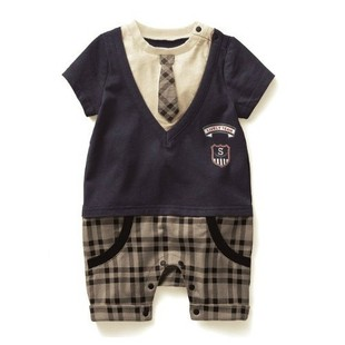 Baby clothing baby short sleeve summer tie gentlemen's clothing newborn cotton summer climbing clothing