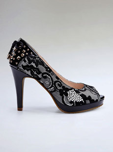 Dream Basha shoes 2012 new fashion rivet Han Fenglei combination with fish mouth shoes high 121,012,107