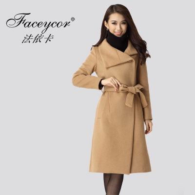 Act 2014 autumn and winter in Europe and America Eka Women Slim temperament ladies long wool coat woolen coat big yards