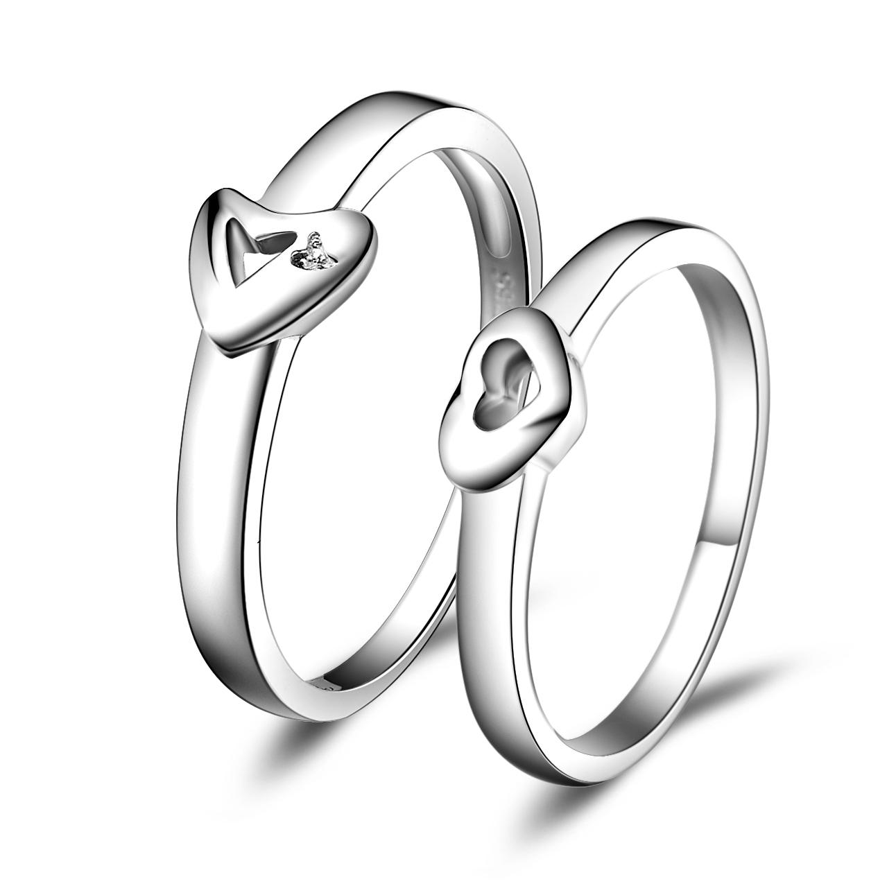 戒指结婚季 一心一意925纯银情侣戒指情侣对戒 饰品银指环真心相爱特价