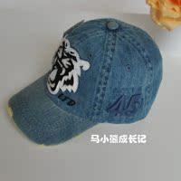 【包邮】韩版男女童帽子牛仔帽宝宝鸭舌帽潮儿童遮阳帽虎头图案